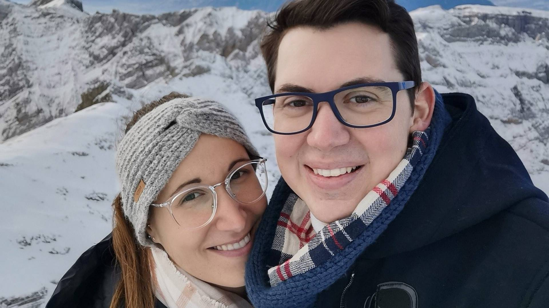 The couple at the Säntis mountain in Switzerland