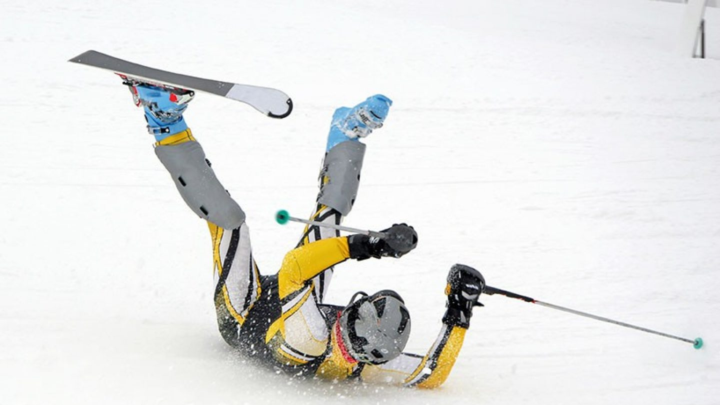 Skiier wipes out