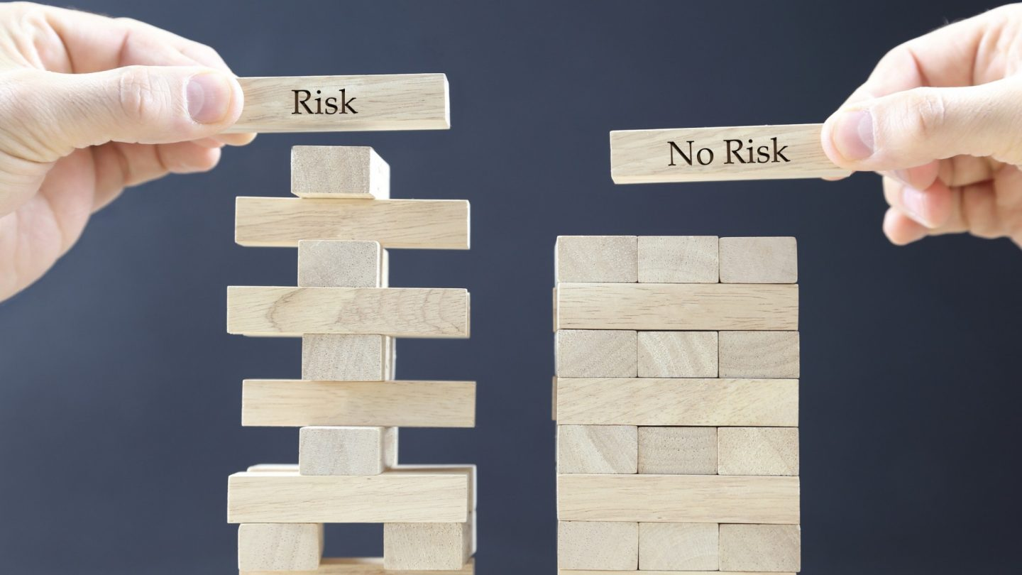business concept with wooden blocks: risk - no risk